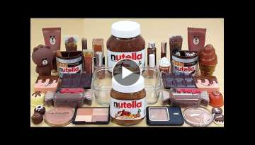 NUTELLA SLIME Mixing 'BROWN'Makeup and Random Things Into Clear Slime, Satisfying slime videos AS...