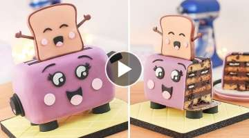 Cute Toaster & Happy Toast - Cake Decorating - Tan Dulce
