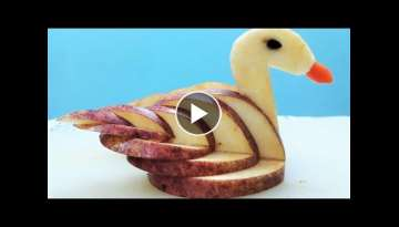 আপেল দিয়ে রাজহাস || APPLE SWAN GARNISH || DECORATION ITEM || SHIRIN&#...