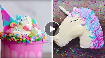 10 Amazing Unicorn Themed Dessert Recipes | DIY Homemade Unicorn Buttercream Cupcakes by So Yumm...