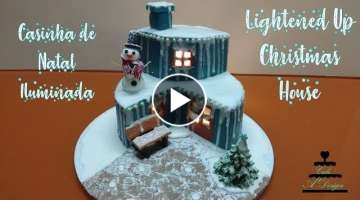 Bolo Casinha de Natal Iluminada - Lightened Up Christmas House Cake (ENGLISH SUBTITLES)