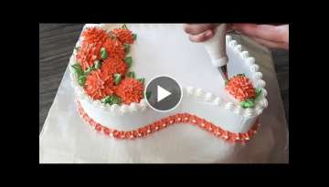 Paisley flower cake with whipped cream