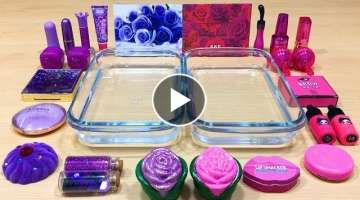 Purple vs Pink ! Mixing Makeup Eyeshadow into Clear Slime ! Satisfying Slime Videos #529