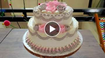 Wedding Cake Two Level Flowers Grey Pink Roses And Tutorials To Decorate For Beginners