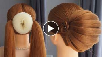 Bun Hairstyle For Lehenga Step By Step - Easy Hairstyles But Pretty | Wedding Hairstyles And Part...