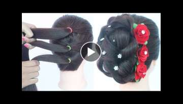 easy messy updo with trick || hairstyles for girls || new hairstyle || bridal hairstyle || hairst...