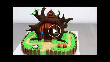 How To Make a CHOCOLATE HOUSE TREE Cake - Decorating with Modelling Chocolate